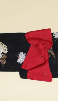 ブランド浴衣フルセット「花井幸子 黒地に白花」