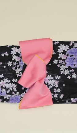 ブランド浴衣フルセット「Pinky&Dianne 黒地に百合」