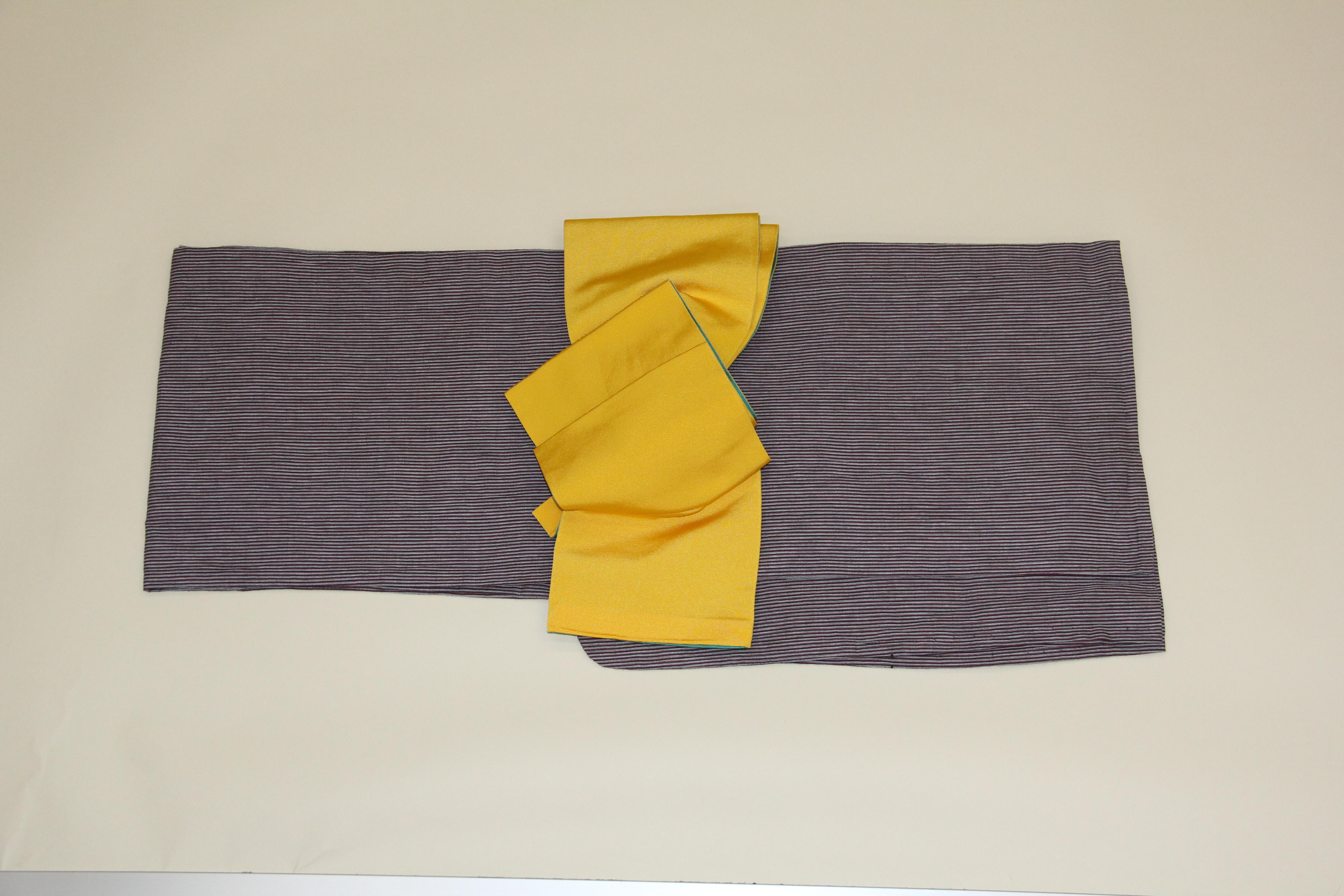 ブランド浴衣フルセット「うたかた座 グレー地に細縞」
