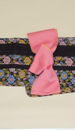 ブランド浴衣フルセット「rinnone 黒地に明るい花々」
