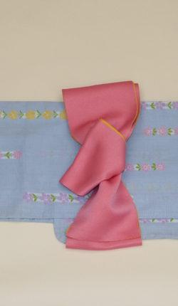ブランド浴衣フルセット「夢工房 水色地に花縞」
