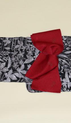 ブランド浴衣フルセット「黒地にグレー草花」