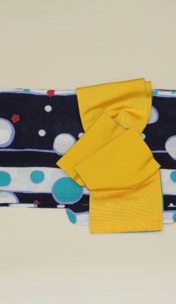 ブランド浴衣フルセット「YUIOKADA 紺地に水玉」