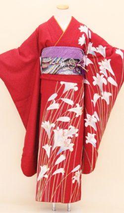 成人式 正絹振袖フルセット「赤地にしなやか百合 振袖」