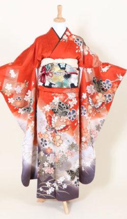 成人式 正絹振袖フルセット「朱色地に花と蝶 振袖」